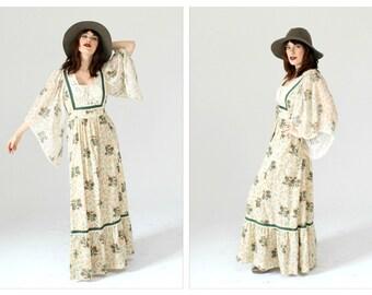 Butterfly Sleeve Boho Maxi Dress- Gunne Sax Style, M, Hippie boho Chic Dress, Flowy Festival Witchy