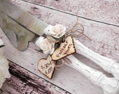 Rustic Chic Wedding Cake Server And Knife Set, White with Ivory Flower, Personalized Wood Hearts, Bridal Shower Gift, Wedding Gift