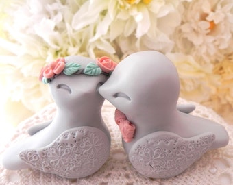 Love Birds Wedding Cake Topper, Light Gray and Peach, Bride and Groom Keepsake, Fully Custom