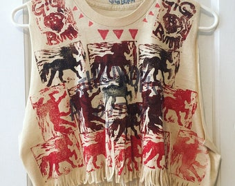Adeline's Horses on an Arthroscopists DO IT on TV, Upcycled Crop Top, vintage shirt, hand printed, gigibunni