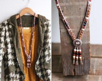 Vintage Bolo Tie Necklace- 1980's 80's Women's Beaded Southwestern Southwest Lariat - Earth Tones Copper Silver Tone Brown Black Neutral