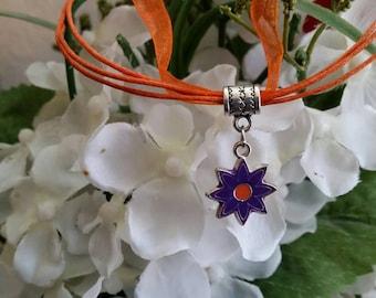 Purple and Orange Enamel Charm Flower Large Hole Bead Charm on Orange Organza and cord necklace