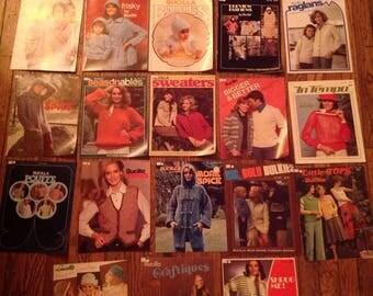 Vintage 1970's 1980's Bucilla Knitting Magazine Lot Instructions Patterns