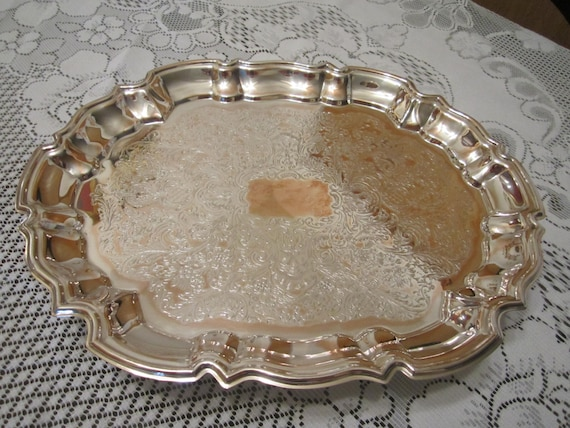 Leonard Brand Silver Plate Over Copper Footed Serving Tray - Vintage - Wedding Decor - Holiday Decor - Newly Polished