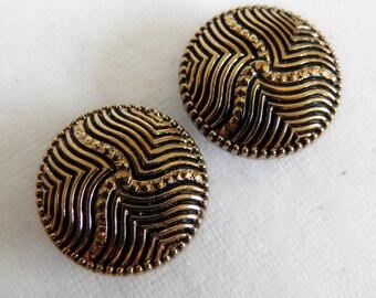 Vintage Modern Black Glass Buttons Gold Luster