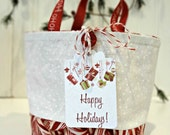 Mini Christmas Gift Bag With Handles, Happy Holidays Hang Tag, Tiny Snowflake & Candy Cane Collage Fabrics