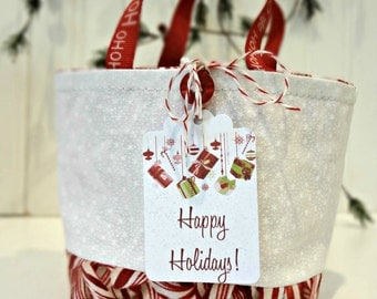 Mini Christmas Gift Bag With Handles, Happy Holidays Hang Tag, Tiny Snowflake & Candy Cane Collage Fabrics