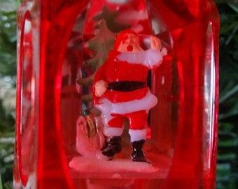 Vintage Jewel Brite Red Hard Plastic Christmas Ornament With A Santa