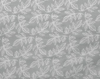 Gray Leaf Print - by the YARD - Cotton Fabric