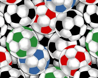 Packed SOCCER BALLS - by the YARD - Cotton Fabric