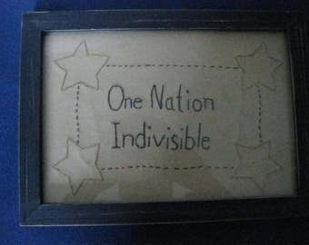 Primitive Folk Art Framed Stitchery Picture One Nation Indivisible Americana  #CR