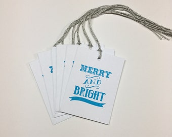 Merry and Bright Christmas/Holiday Tags in Blue with Silver String