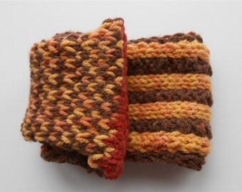 Brown Knit Earwarmer, Stripe Ear Warmer, Bulky Chunky Knitted Headband, Unisex Headwrap, Knit Ski Headwear, Handmade Knitwear Ear Warmers
