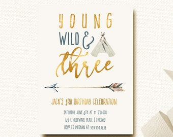 Young Wild Three Birthday Invitation | Boys Tribal Invitation | Boys Teepee Arrow Invite