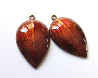 Enamel leaf charms Artisan findings Unique jewelry making components Enameled copper earring bead pair