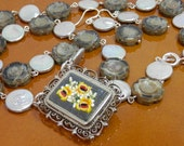Vintage Micro Mosaic Pendant with Silver Grey Coin Pearls and Flower Necklace
