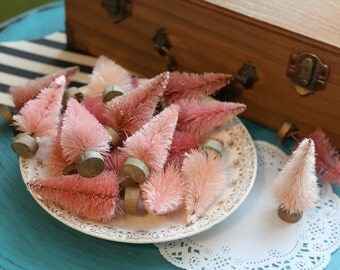 gorgeous PINK BOTTLEBRUSH TREES set of 3 in different shades of pink. Small 2.5 Inch