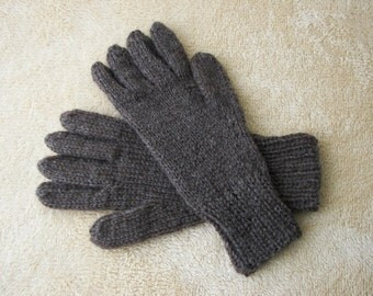 Hand Knit ECO Peruvian Undyed WOOL Gloves in NATURAL colors / full knit gloves