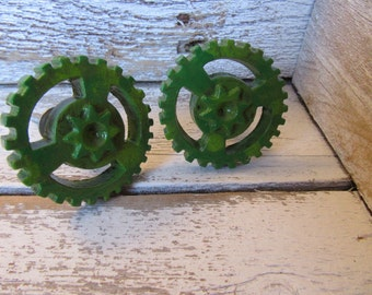 2 Green Industrial Knobs Vintage Gear Style Mid Century Pulls in Antiqued Brass Hand Painted for Drawers or Cabinets Industrial Look B-3