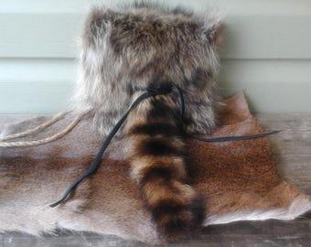 Raccoon Pelt Haversack Purse