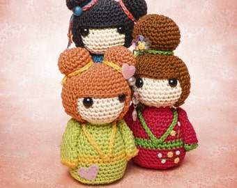 Geisha girls amigurumi crochet pattern