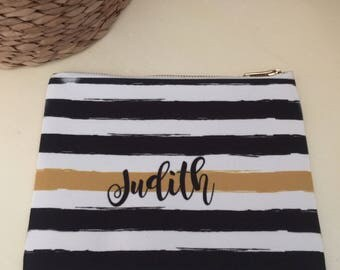 Black Gold Stripe Personalized Lined Cosmetic Bag Monogrammed Makeup Bag Personalized Bridesmaid Gift Bag Personalized Coin Purse