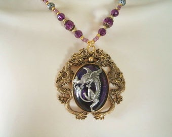 Dragon Necklace, medieval jewelry renaissance jewelry fantasy jewelry dragon jewelry gothic edwardian victorian tudor medieval necklace