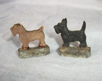 Vintage Antique Precious Miniature Hotsy and Totsy Scottie Dog Magnets Merry Magnetic Pups