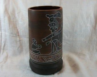 Vintage Large Tall Etched Vase Armando de Mexico Signed Aztec Mayan Decor