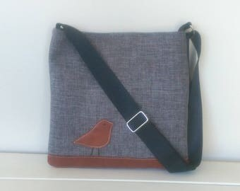 Tote, Dark Grey  and  Leather Bird