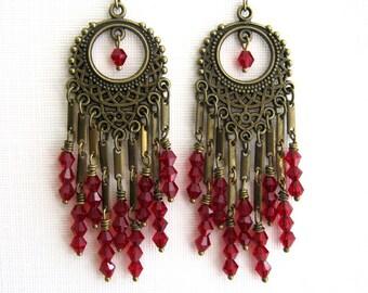Long Brass and Dark Red Crystal Chandelier Earrings Long Red Earrings