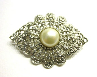 Vintage Faux Pearl Brooch Silver Art Deco Style Pin Gift for Her Gift for Mom Under 10 Stocking Stuffer Gift Idea