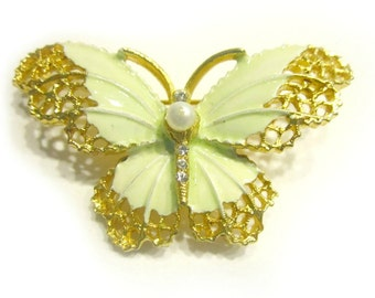 Vintage Butterfly Pin Enamel Green Butterfly Pearl Rhinestone Brooch Designer Signed Under 25 Gift Idea For Her For Mom