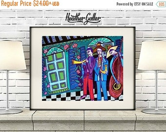 50% Off Today- New Orleans Jazz Musicians Art  Art Print Poster by Heather Galler (HG721)