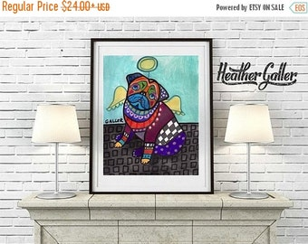 50% Off Today- Pug art dog Poster Print of painting by Heather Galler (HG786)