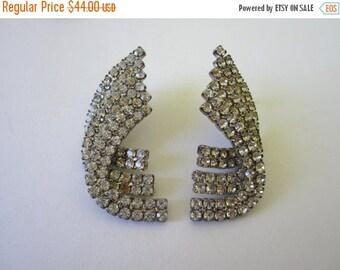 On Sale 1960s Rhinestone Earrings. Glitz Glam pierced Earrings. Curved Earrings