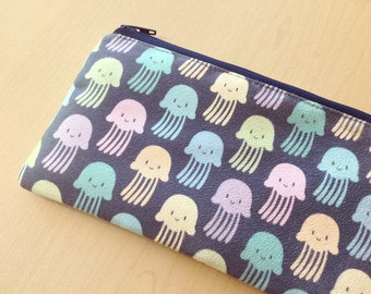 Faux suede zipper pouch : colorful jellyfishes