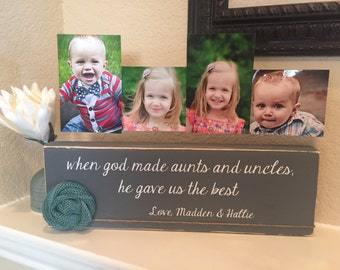 Aunt & uncle Personalized picture frame board aunt uncle gift from kids Christmas gift birthday for sister brother from niece and nephew