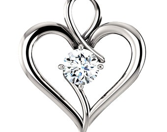 Certified 1 carat Natural Diamond Always in my Heart Pendant, Solid 14K White, Yellow or Rose Gold, Valentines Day Gift, Endless Love Design
