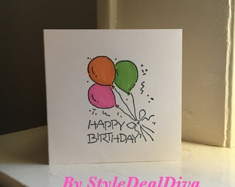 Balloon Happy Birthday Mini Card Tag