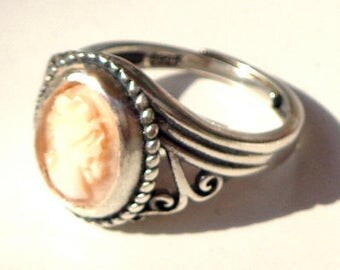 Hand Carved,Pink Baby Skin Conch Shell Cameo Ring, Antique Italian Cameo, New Sterling Silver Filigree Ring,Vintage Carved Conch Shell, OOAK