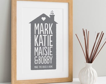 Personalised Home Family Print | Print at Home | Family Home Print | Family Gift | Digital Download | Custom Print At Home | Custom Print