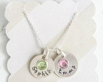 Mom's Brag Necklace / Sterling Silver hand stamped Mama Mommy Nana Grandma Grandmother Nona Grammy Mimi Kids Names