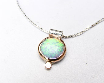 White Opal Necklace, Opal Pendant, Gift for her,  Opal Necklace, October Birthstone, Australian Opal, Gold and silver opal Necklace