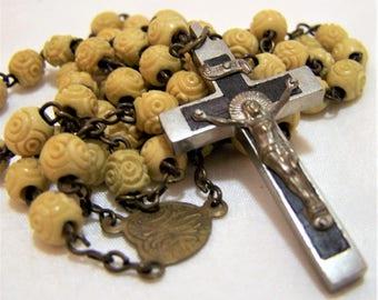 Molded Flower Bead Catholic Rosary, Silver Tone Wood Crucifix, Beaded Religious Necklace, Vintage Mid Century Christian Jewelry 417z
