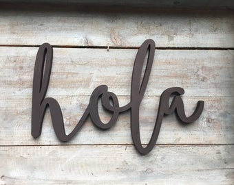 "Mini 12"" Hola Word Wood Cut Wall Art Sign kitchen restaurant home Decor"