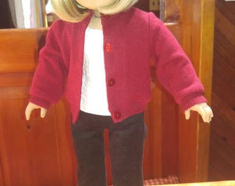 RED CASHMERE Cardigan Sweater 18 inch doll clothes