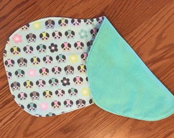 Mint green and owls small burp cloth ** Gift for new Mom ** Baby Shower Gift  ** Gift for Mothers Day
