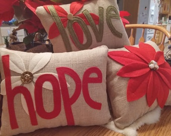 Set of 3 small Christmas decorative burlap front pillows