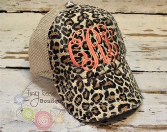 Leopard Trucker Hat, Distressed Tan Trucker Hat - Monogrammed Ball Cap, Personalized Trucker Hat